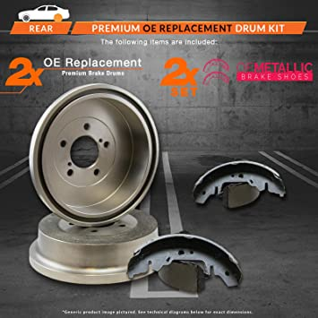 Max DS925442 Rear Premium OE Replacement Drums and Shoes Combo Brake Kit