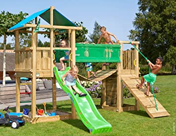 Klettergerüst Garten Kinder : Jungle gym hut bridge grün garten kinder holz spielgeräte mit