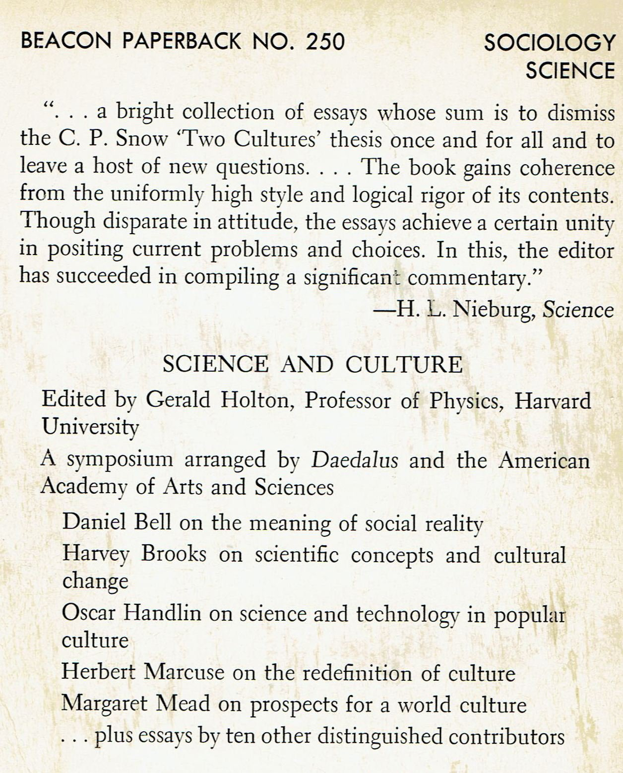 Good Persuasive Essay Topics For High School Science And Culture  A Study Of Cohesive And Disjunctive Forces Gerald  Holten  Amazoncom Books Science Essay Questions also Persuasive Essay Samples For High School Science And Culture  A Study Of Cohesive And Disjunctive Forces  Small Essays In English