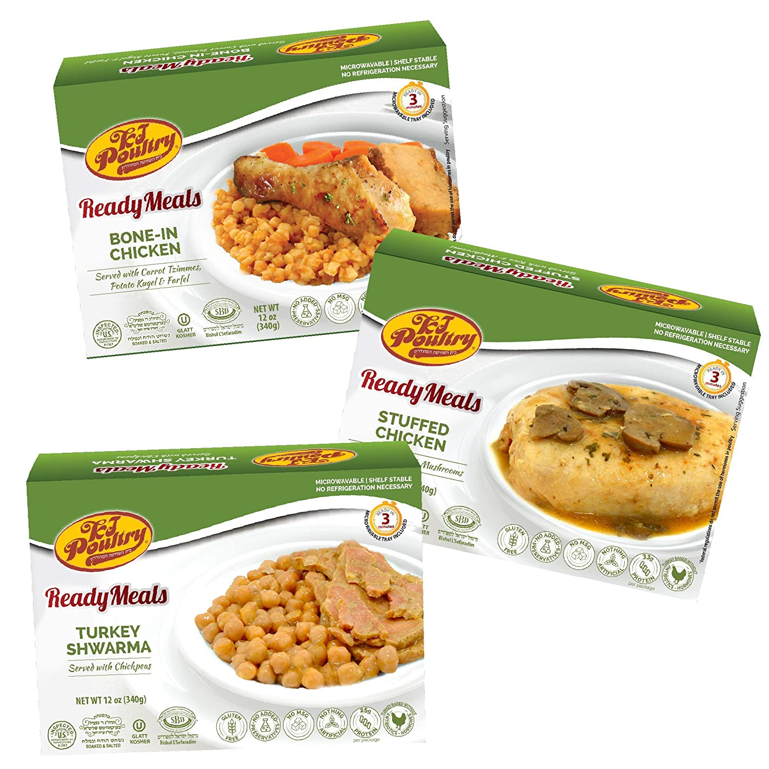 Kosher Mre Meat Meals Ready to Eat, Variety of Stuffed Chicken Breast, Turkey Shwarma, Bone In Chicken (3 Pack Bundle) - Prepared Entree Fully Cooked, Shelf Stable Microwave Dinner