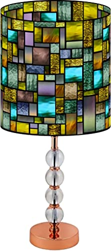 LampPix 22.5 Inch Custom Printed Table Desk Lamp Shade Solar Stained Glass Style Pattern. Includes Decorative Acrylic Round Stand