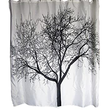 Amazon.com: Dozenegg Waterproof Shower Curtain With Tree Design ...