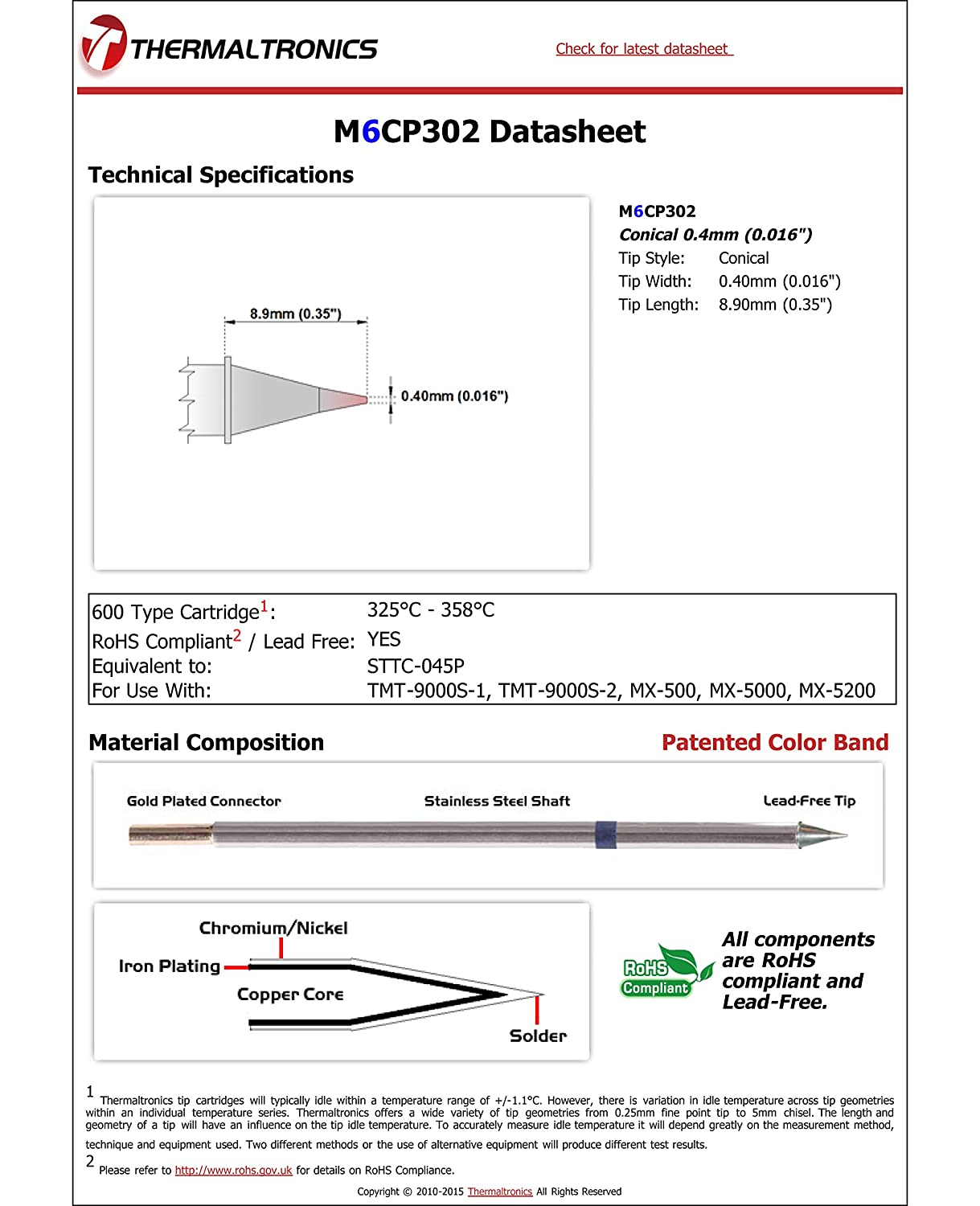 """0.016/"""" NEW Thermaltronics M6CP302 Metcal STTC-045P Soldering Tip Conical 0.4mm"""