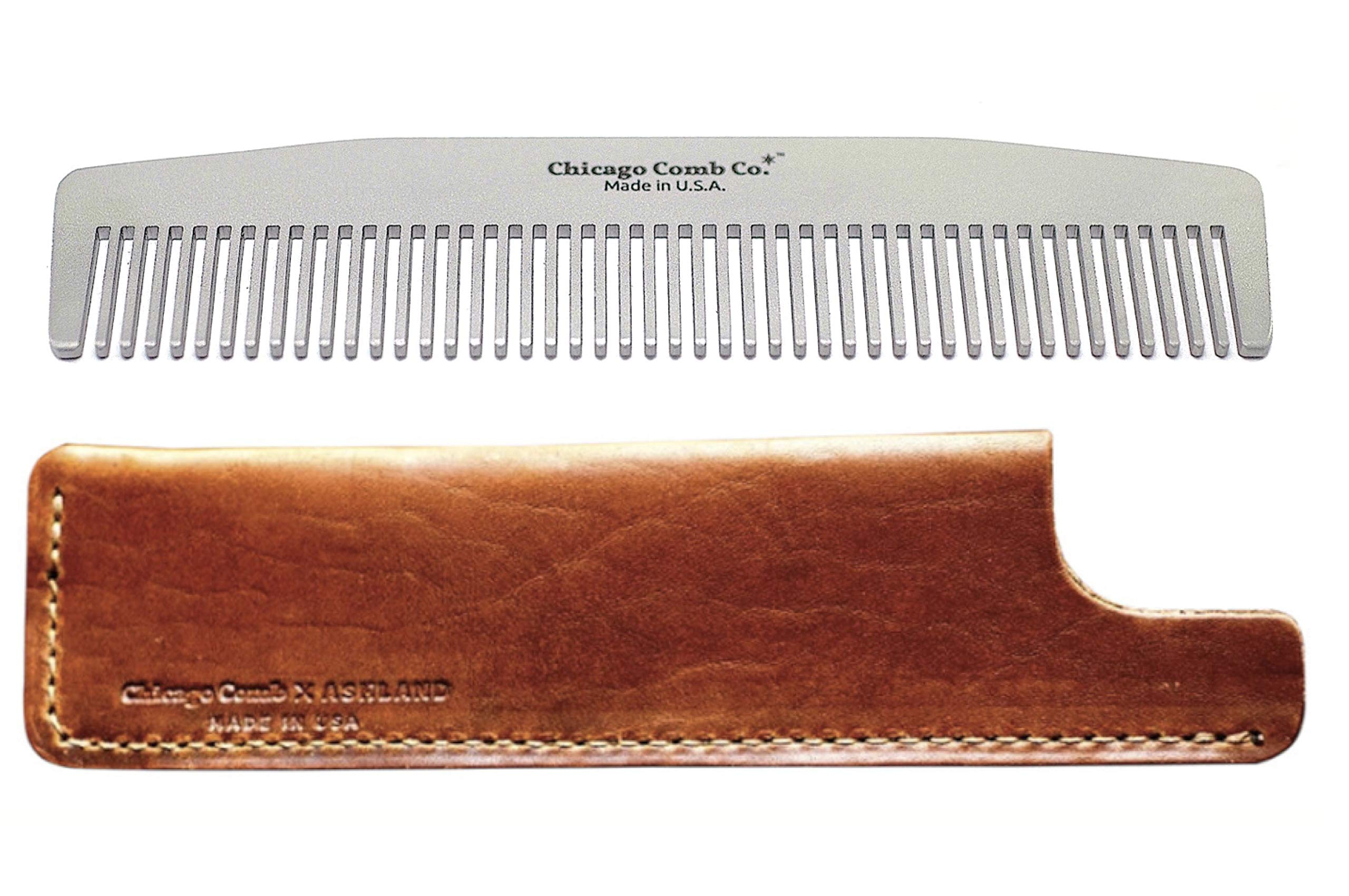 Chicago Comb Model 3 Stainless Steel + Horween Tan Leather Sheath, Made in USA, Ultra-Smooth, Durable, Anti-Static, 5.5 in. (14 cm), Medium-Fine Tines, Ultimate Daily Use Comb, Pocket Comb, Gift Set