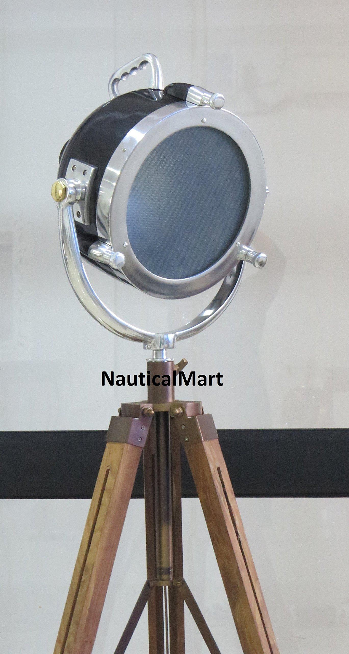 Vintage Wooden Tripod Spotlight Searchlight Floor Lamp Lighting Home Decor By Nauticalmart