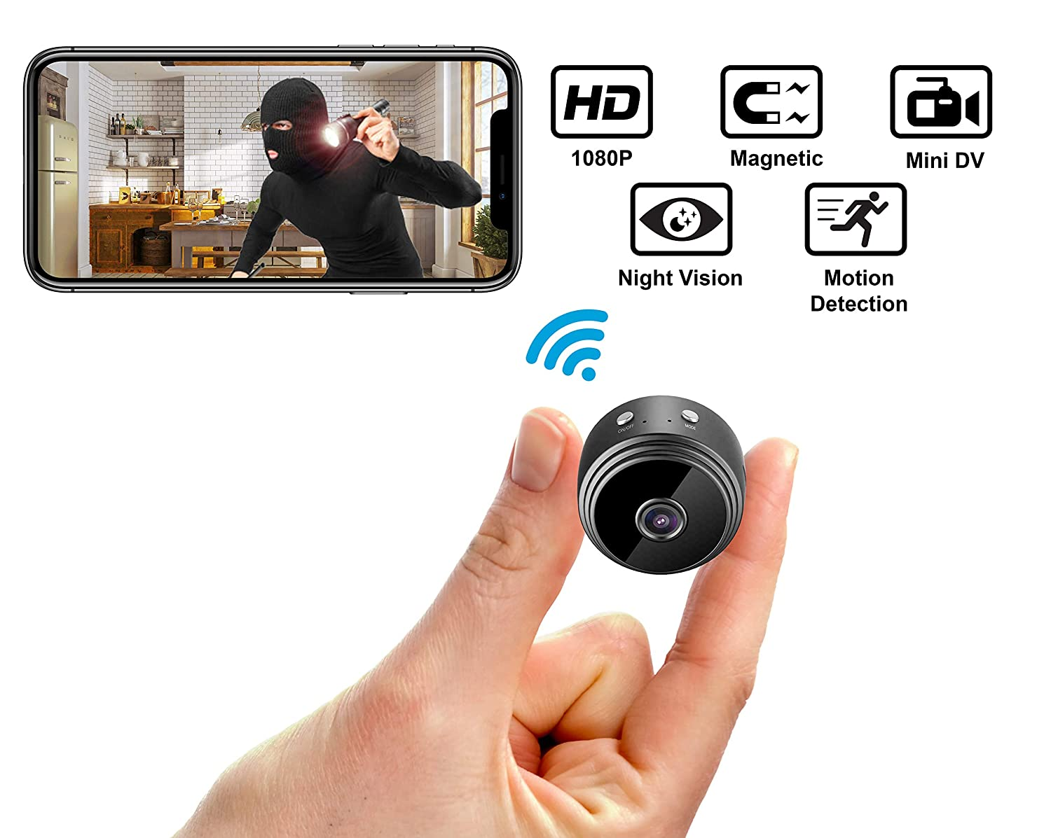 Mini Hidden Spy Camera Wireless HD 1080P Indoor Outdoor Home Small Cam Security Nanny Cop Cameras, Built-in Battery with Motion Detection Night Vision Video Recorder for iPhone Android PC Upgraded