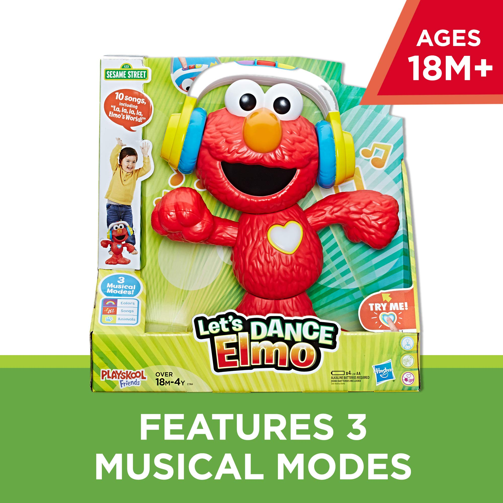 Sesame Street Let's Dance Elmo: 12-inch Elmo Toy that Sings and Dances, With 3 Musical Modes, Sesame Street Toy for Kids Ages 18 Months and Up by Sesame Street (Image #2)