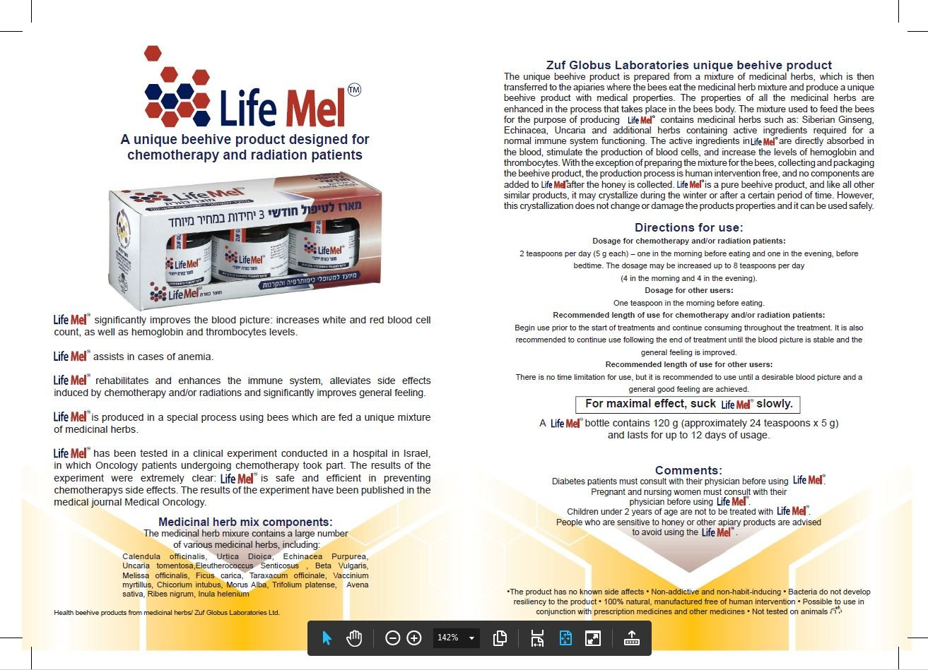 3 Packs Lifemel Chemo Support Unique Honey Support of Patients Suffering From the Side Effects of Chemotherapy and Radiation Treatment. by Lifemel Chemo Support (Image #1)