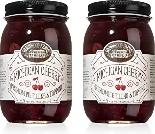 product image for Brownwood Farms Michigan Cherry Filling - 2/18 oz Best Premium Pie Fillings Toppings - Made in USA Gluten-free - W/ Great Lakes cherry - Chefs Baking Topping - Yogurt - Pancake - Ice cream  (BFCF2P)