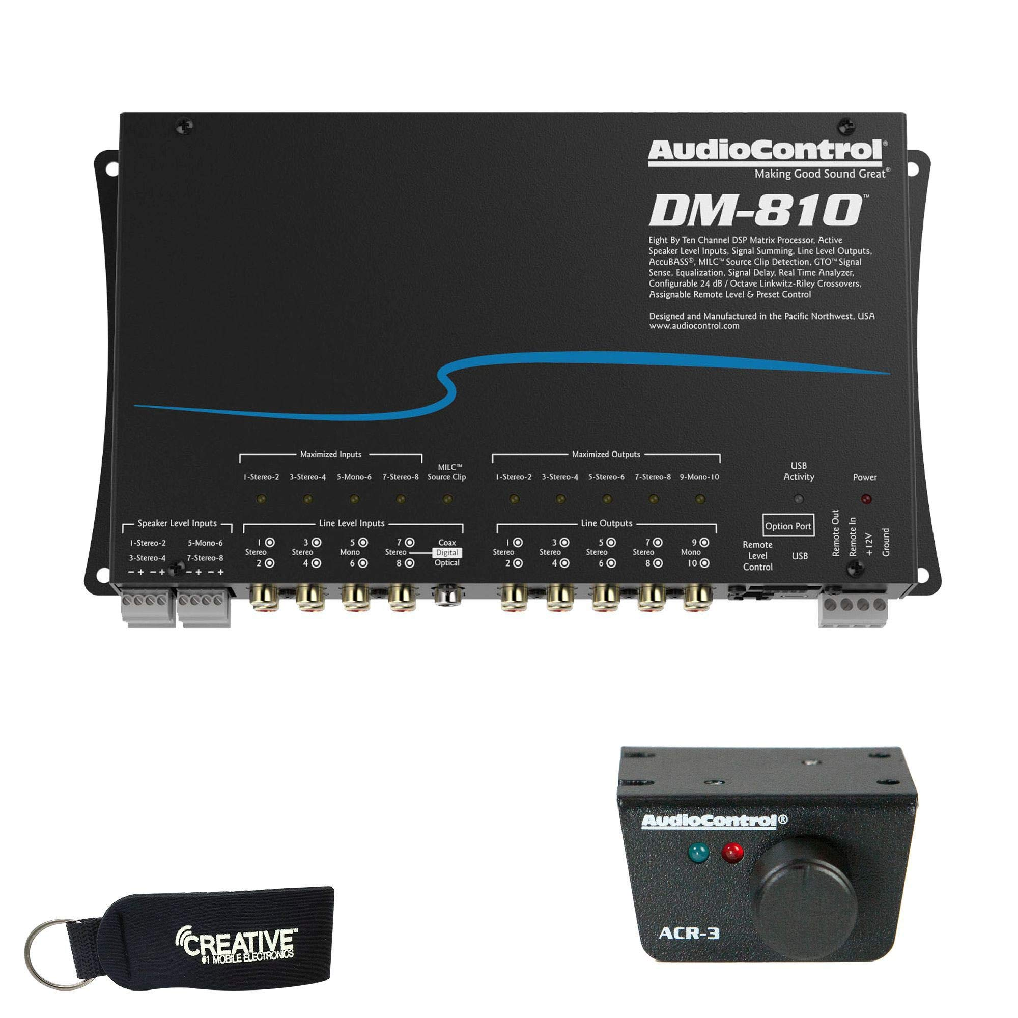 AudioControl DM-810 Premium 8 Input 10 Output DSP Matrix Processor, ACR-3 Dash Remote