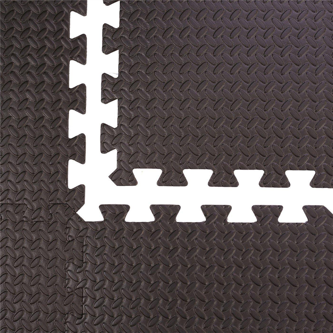 Couleur Noir P/étale 60x60x1 cm BodenMax Tapis de Protection en Mousse EVA Yoga Dalles en Mousse avec Bordures Tapis de Sport Gym 12 pi/èces Musculation