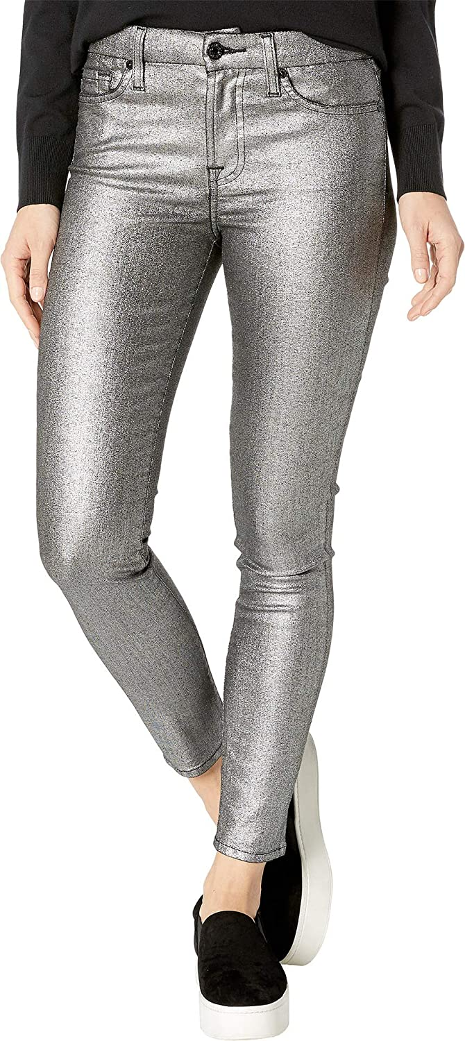 Silver 7 For All Mankind Womens Metallic Ankle Skinny in Silver