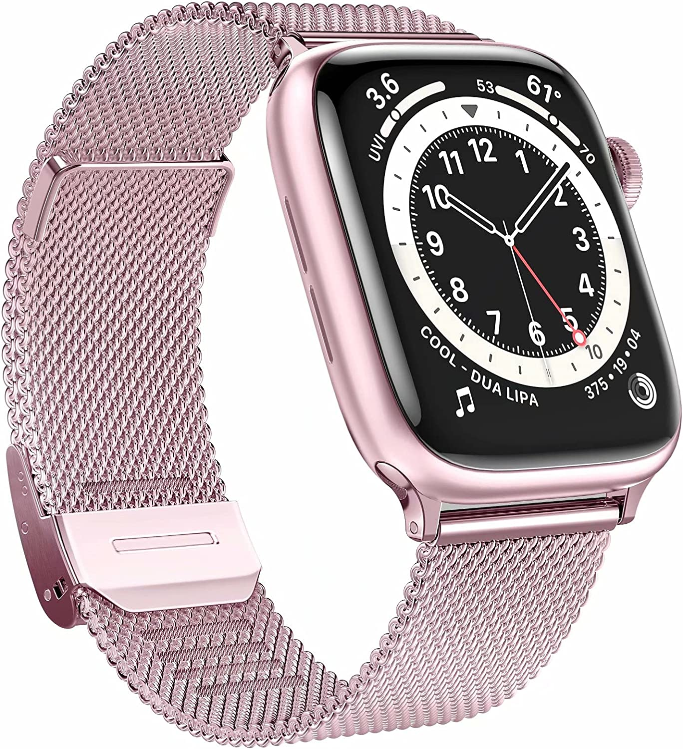 GBPOOT Bands Compatible with Apple Watch Bands 38mm 40mm 42mm 44mm,Clasp Stainless Steel Milanese Bands for iwatch Series 6/5/4/3/2/1/SE Men Women(Rose Gold,42/44mm)