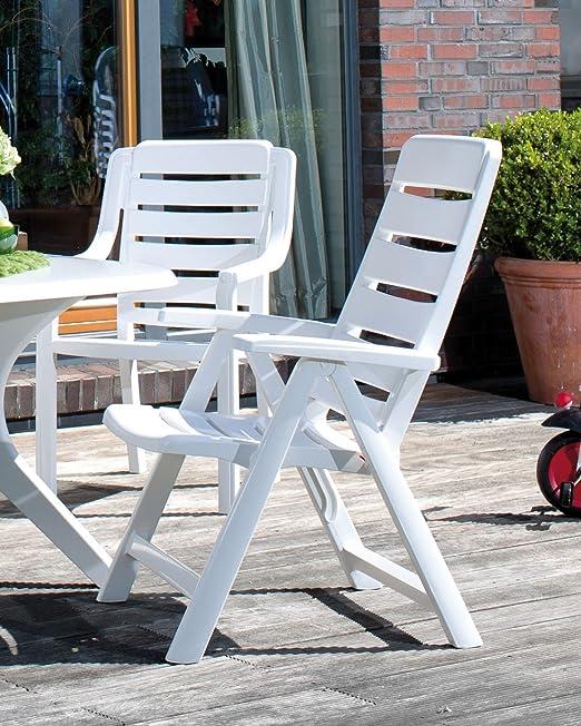4 Kettler Chaise de jardin Multipos itions Fauteuil nice pliable en plastique Blanc