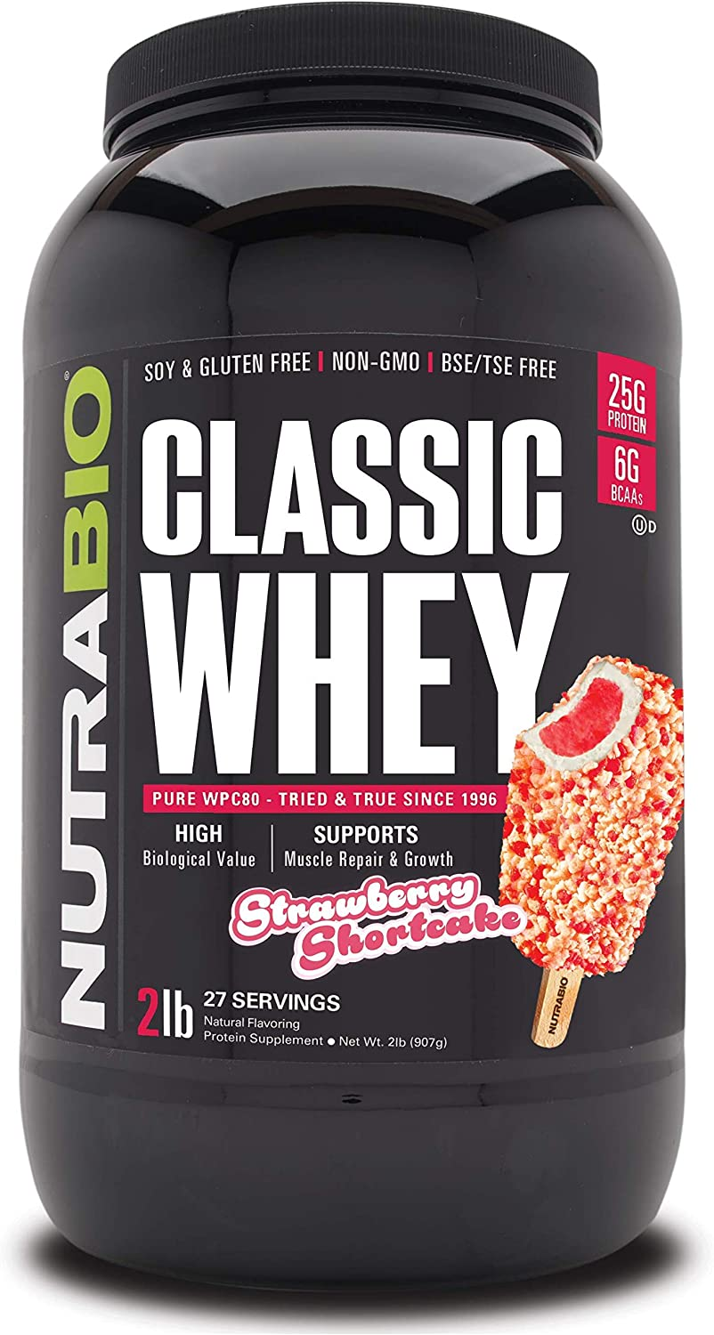 NutraBio Classic Whey Protein Powder- 25G of Protein Per Scoop - Full-Spectrum Amino Acid Profile - No Fillers, Artificial Colors, Preservatives - Low Glycemic Index - Strawberry Shortcake, 2 Pounds