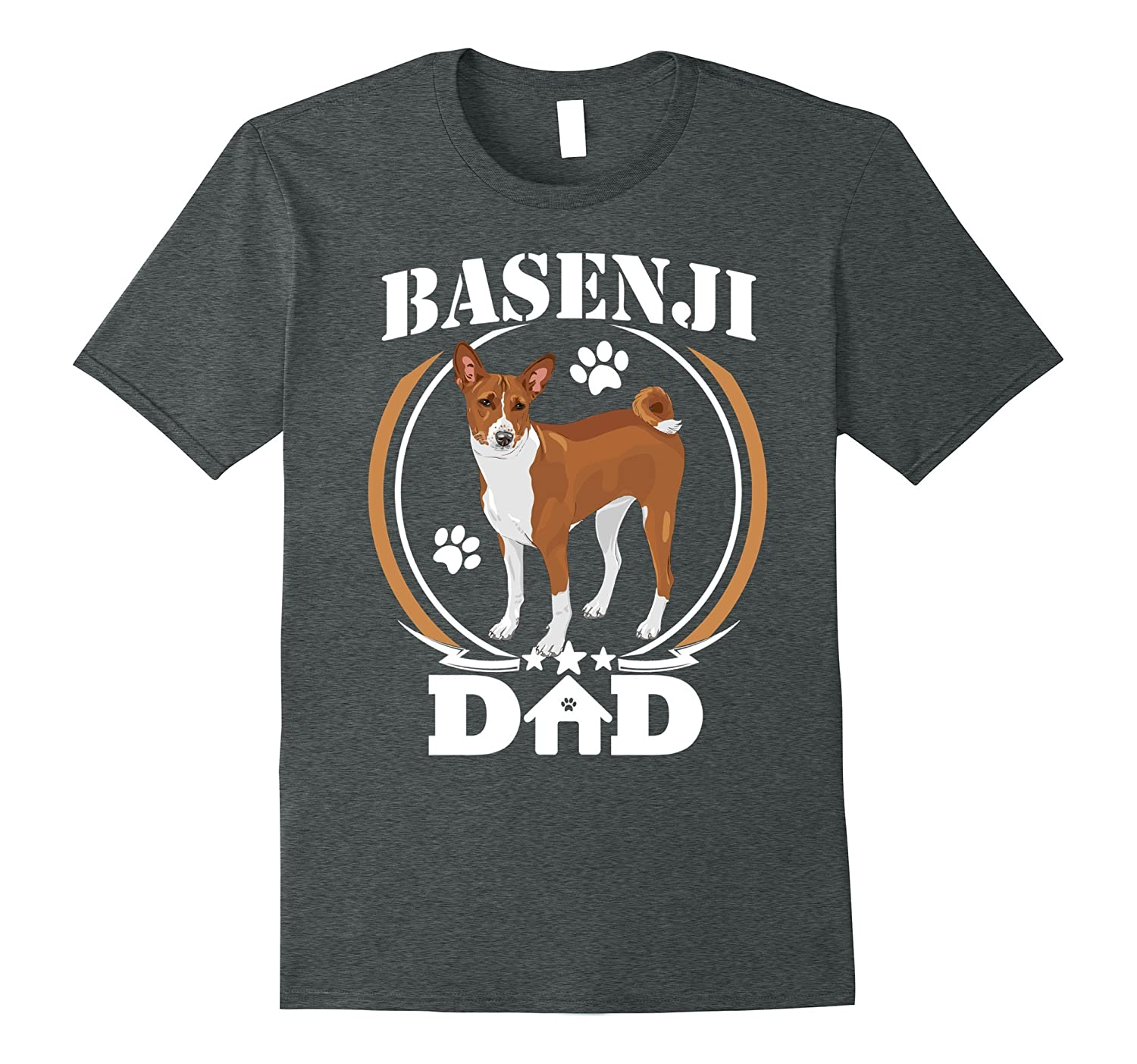 Mens Basenji Dad T-shirt Best Dog Dad Ever Gifts Idea Birhday Tee