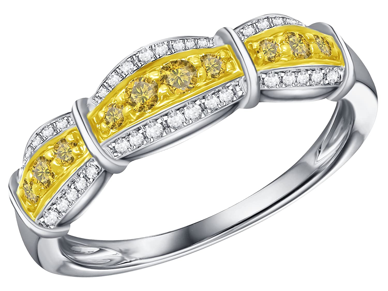 Prism Jewel 0.30Ct Round Yellow Diamond With Diamond Anniversary Ring