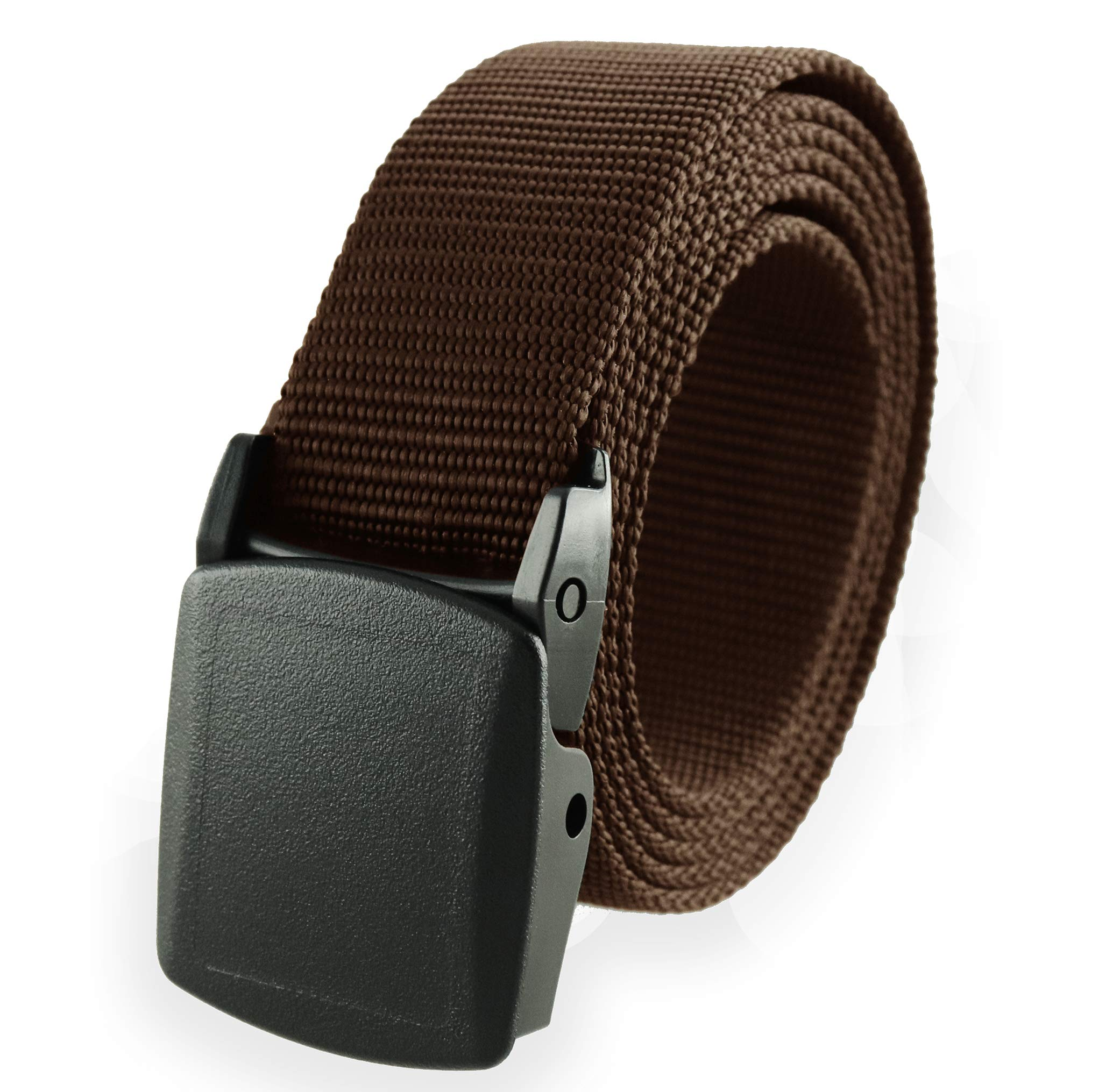 "Thomas Bates Nylon Web Belt Outdoor Breathable Trekker, Metal-Free Buckle 1-1/4"" Cut-to-size Made in USA (Brown)"