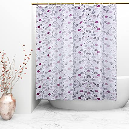 Kuber Industries Floral PVC Shower Curtain with 8 Hooks - 54x84, Multicolour