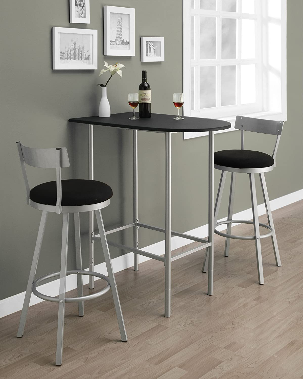 amazoncom monarch specialties space saver bar table 24 inch by 36 inch blacksilver metal kitchen dining - Kitchen Table With Bar Stools