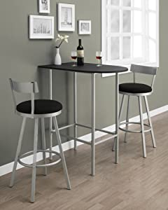 Monarch Specialties Space Saver Bar Table, 24-Inch by 36-Inch, Black/Silver Metal