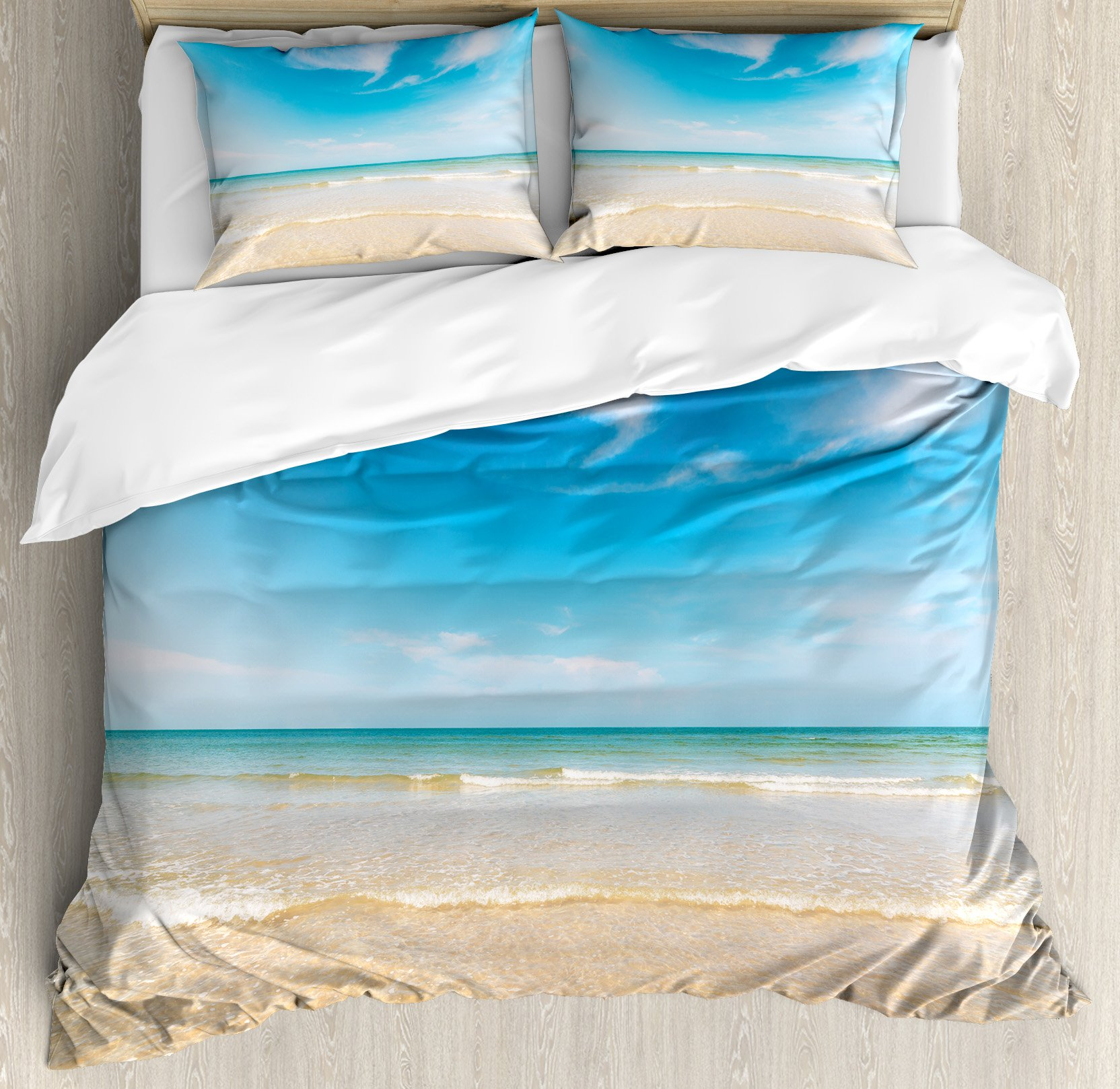 Ambesonne Ocean Duvet Cover Set King Size by, Sea and Sky Landscape at the Beach in Tropical Exotic Fantastic Hawaiian Caribbean Lands, Decorative 3 Piece Bedding Set with 2 Pillow Shams, Cream Blue
