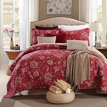 100% Cotton 3 Piece Quilt Set King Size (106u0026quot;x94u0026quot;) Vintage