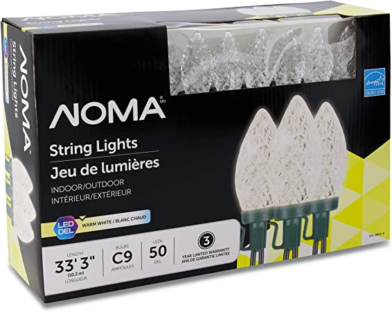 Noma Led Christmas Lights 50 Count C9 Clear Warm White Bulbs 33 3 String Light Ul Certified Outdoor Indoor