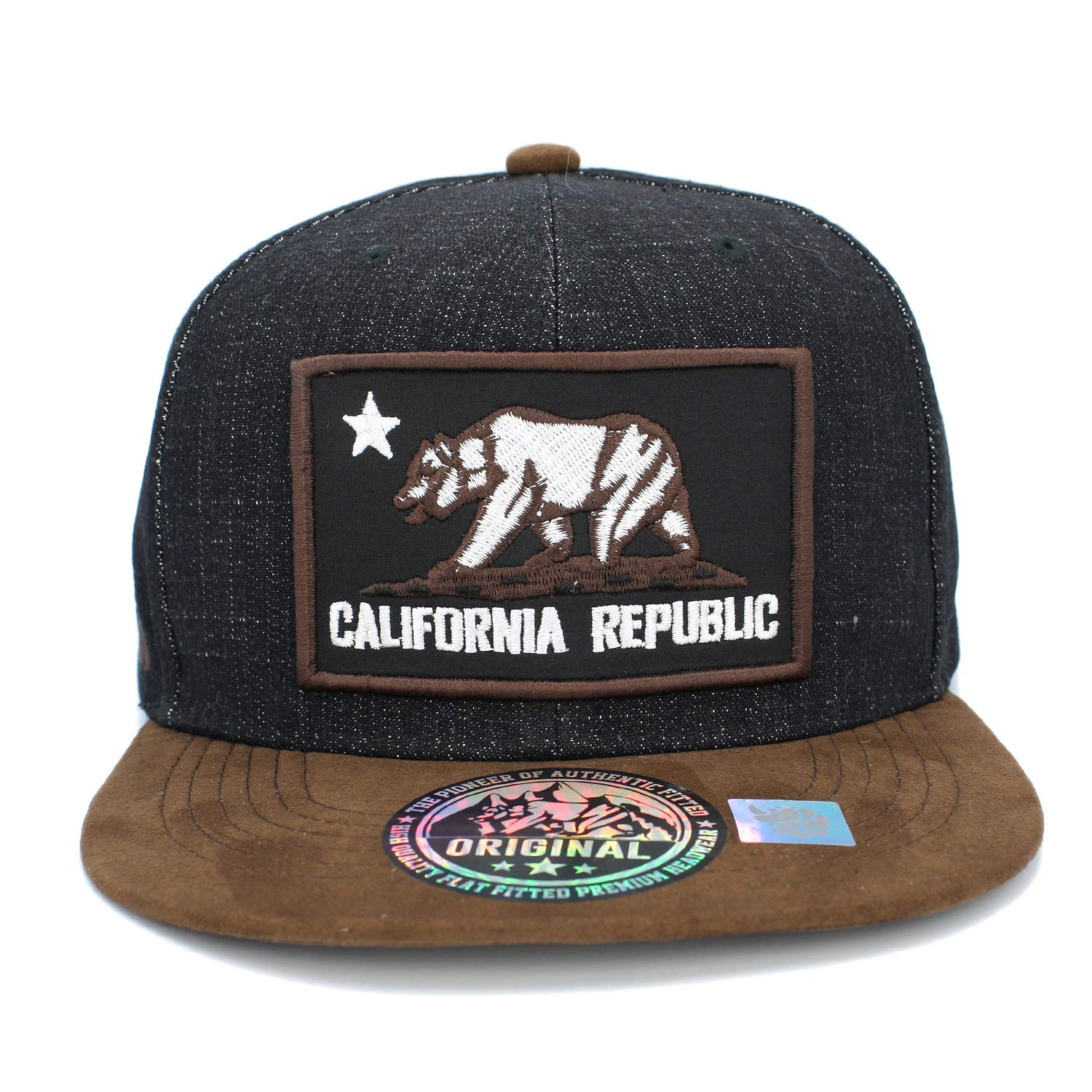 Embroidered California Republic with Bear Claw Scratch Snapback Cap (Black  Denim Suede) at Amazon Men s Clothing store  357905010a74