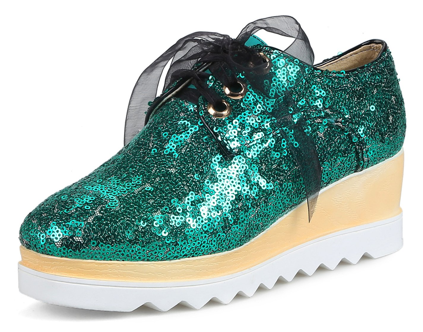 Aisun Women's Round Toe Wedge Sneakers - Lace up Platform Thick Sole - Casual Bling Sequin Mid Heel (Green, 7.5 B(M) US)