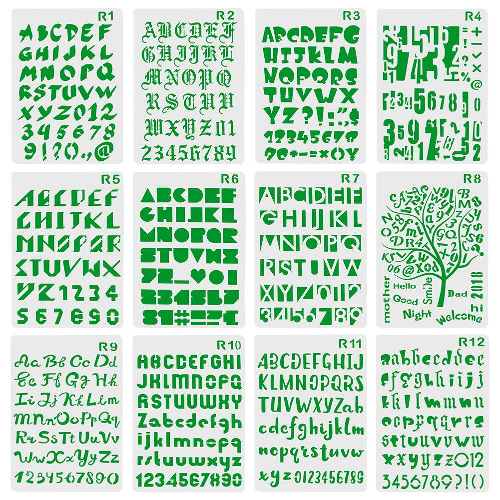 XDLink Set mit 12 Schablonen, Zahlen und Buchstaben, Schablone fü r Alphabet-Malerei, wiederverwendbar, weich, Groß - und Kleinbuchstaben, von 1 bis 3 cm, fü r Scrapbooking, Geburtstagskarten, Wanddekoration