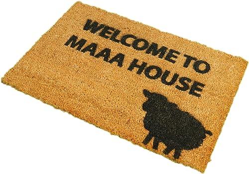 CKB Ltd Welcome to Maaa House Novelty Doormat Unique Doormats Front Back Door Mats Made with A Non-Slip PVC Backing – Natural Coir – Indoor Outdoor