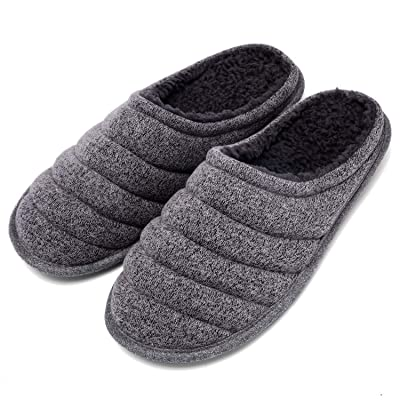 COZISO Slippers for Men Warm Memory Foam Slip on House Shoes Women Cotton Comfortable Knitted Fabric Home Indoor & Outdoor Bedroom Shoes(Brown, 7-8) | Slippers
