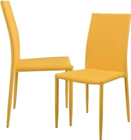 [en.casa] 2 x sedie Imbottite (Color Senape) con Rivestimento Tessile di Alta qualitá per Sala da PranzoSalottoCucina Studio Set