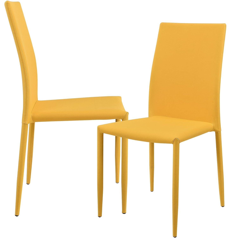 [en.casa] 2 x sedie imbottite (color senape) con rivestimento tessile di alta qualitá per sala da pranzo/salotto / cucina - studio set [en.casa]®