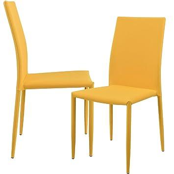 CASA 2 X Chaise Rembourree Couleur Moutarde Avec Textile De