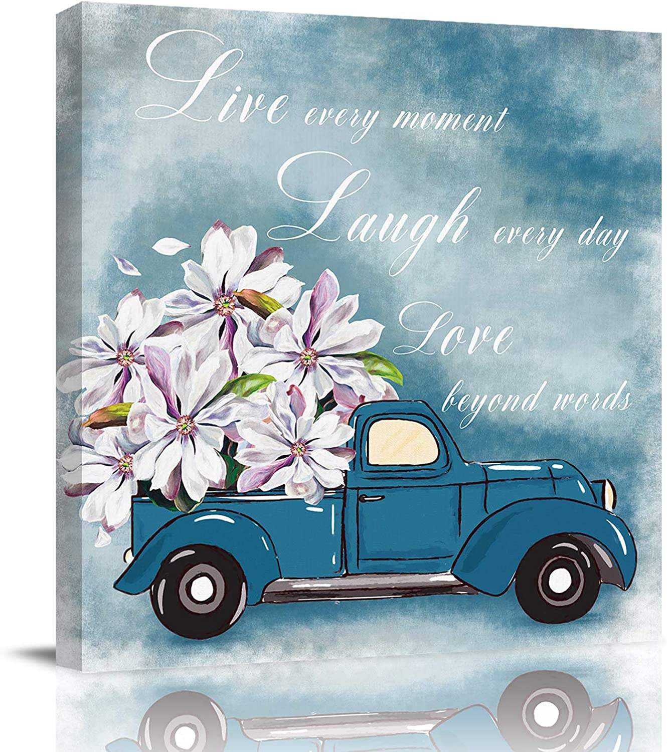 Bathroom Decor Canvas Wall Art, Blue Truck Carrying Pink Magnolia Flower Quotes Live Laugh Love Canvas Prints Gallery Artworks for Bedroom, Stretched and Framed Ready to Hang, 16x16 Inch Wall Decor