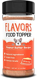 Beaumont Basics Flavors Natural, Human Grade, Grain Free Food Topper, Seasoning, Gravy, Sprinkle and Treat Mix for Dogs (Peanut Butter, 3.1oz)