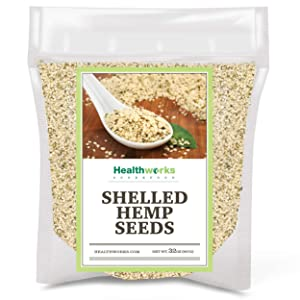 Healthworks Shelled Hemp Seeds Canadian (32 Ounces / 2 Pound)   Premium & All-Natural   Contains Omega 3 & 6, Fiber and Protein   Great with Shakes, Smoothies & Oatmeal