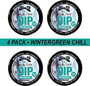 TeaZa Herbal Energy Pouches - Wintergreen Chill (Caffeine Free) - 4 Cans - Nicotine-Free and Tobacco-Free Herbal Snuff - Great Tasting & Refreshing Tobacco Alternative