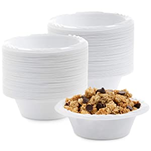 White 12 oz. Plastic Bowls - 100 Count(styles may vary)
