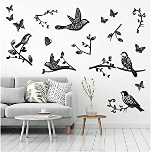 3D Birds and Butterflies Black and White Decals Stickers Wall Decor Art for Living Rooms, Kids Teens Bedrooms - Easy to Stick, Removable, 5 Birds with Butterflies and Branches