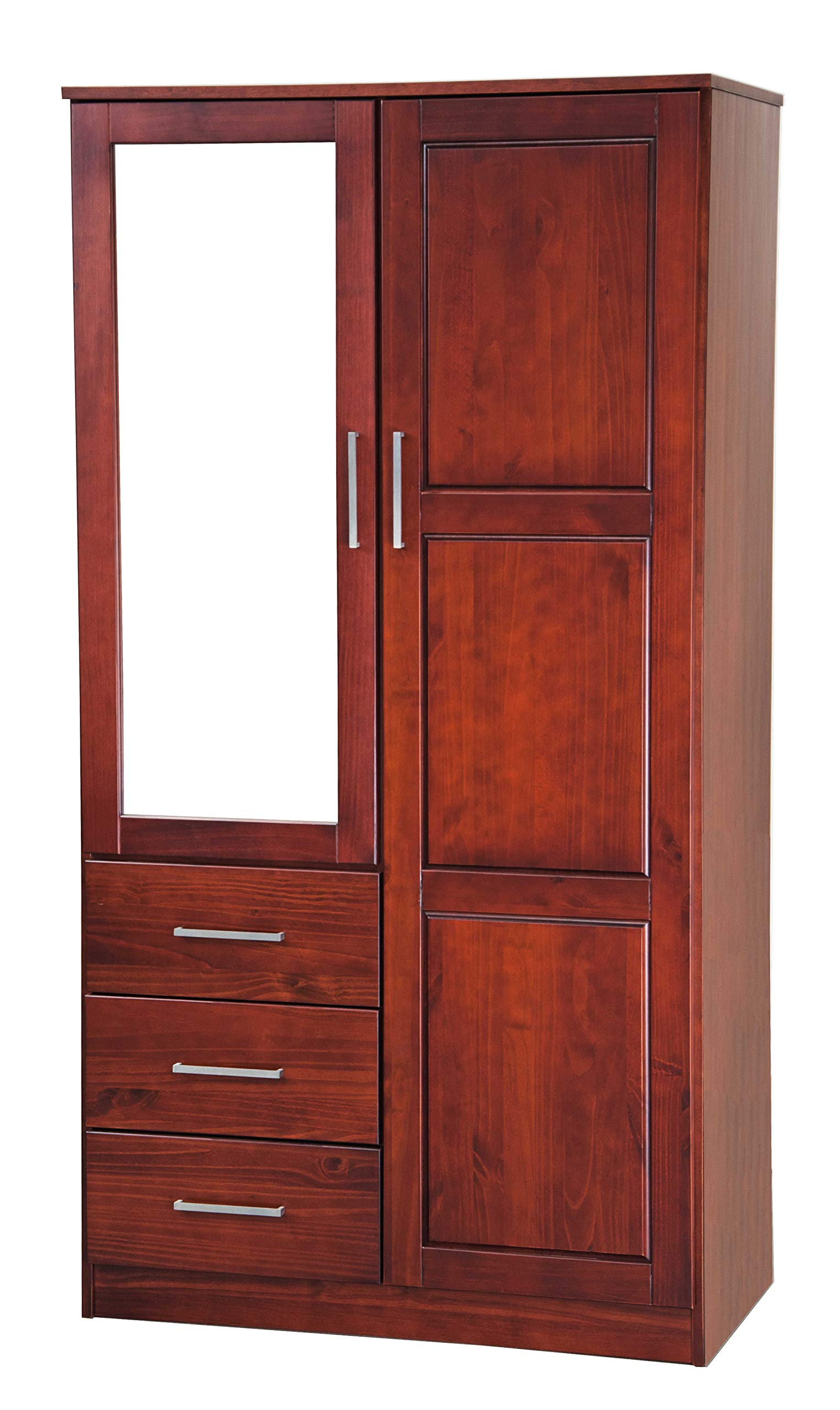 Metro Solid Pine Wood Wardrobe/Armoire/Closet with Mirror and 3 Drawers 7102 Mahogany by Palace Imports, 38''w x 21''d x 72''h. Optional Additional Shelves Sold Separately. Requires Assembly. by Palace Imports