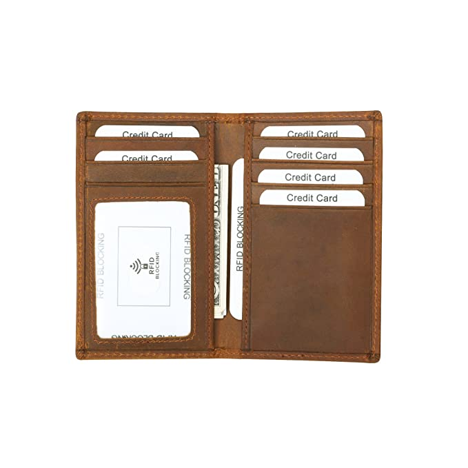 e28472500b68 Onstro RFID Blocking Slim Wallet for Men Genuinel Leather Bifold Wallet  with ID Window Coffee