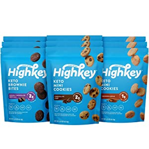 HighKey Keto Food Low Carb Snack Cookies Variety Pack - Chocolate Chip, Brownie Bites & Snickerdoodle - 9 Pack - Gluten Free & No Sugar Added, Diabetic, Paleo, Dessert Sweets and Diet Foods