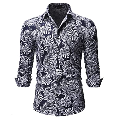 2fddec4052c8 Men's Floral Long Sleeves Shirts Fower Print Beach Casual Hawaiian Button  Down Shirts Black
