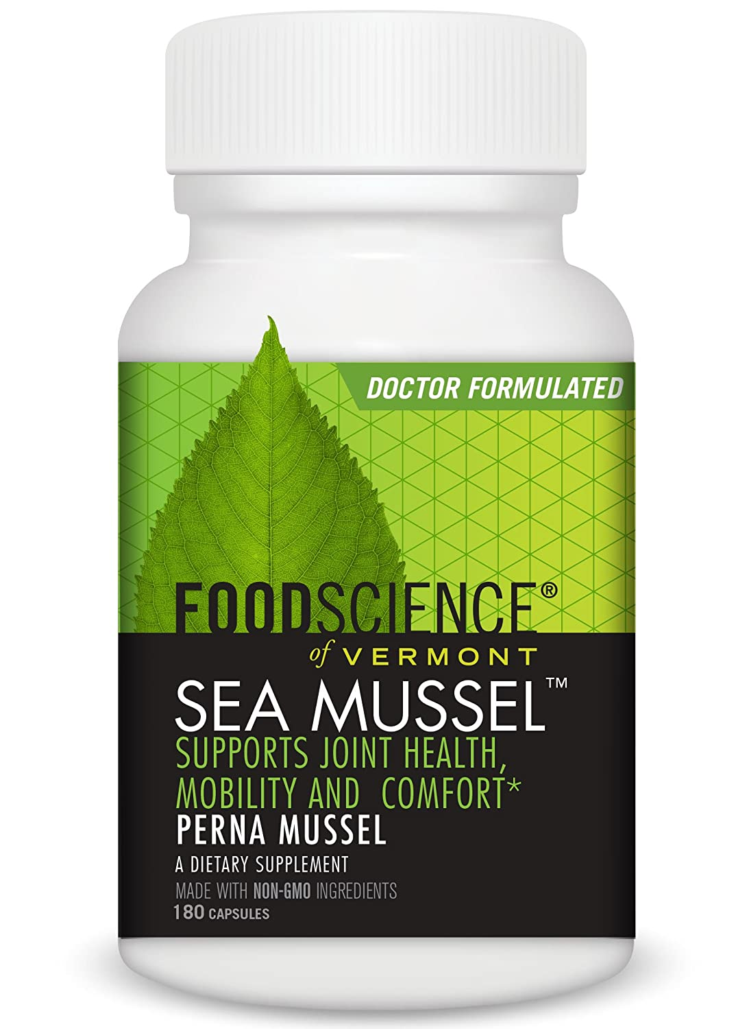 FoodScience of Vermont Sea Mussel, Green-Lipped Mussel Joint Supplement Capsules, 180 Count