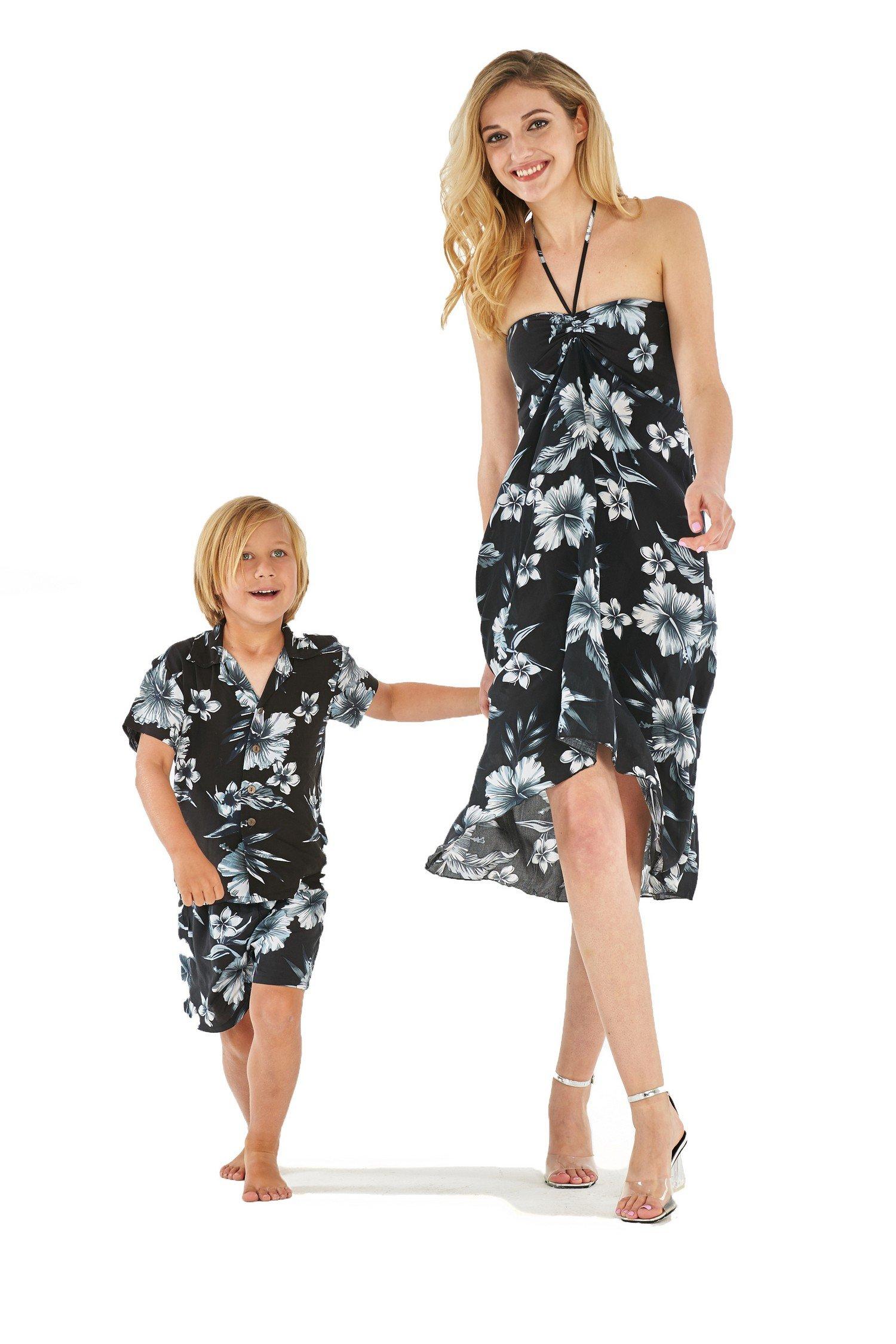 Matching Mother Son Hawaiian Luau Outfit Dress Shirt in Midnight Bloom Women M Boy 8