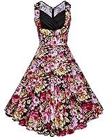 BIUBIU Women 50s 60s Floral Print V Neck Rockabilly Swing Retro Dresses Pin Up UK 6-20