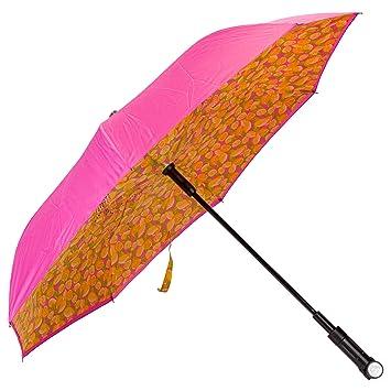 51d0edbe8aac Lemons Pink Revers-A-Brella Portable No Drip Inverted Auto Open Lighted  Handle Umbrella